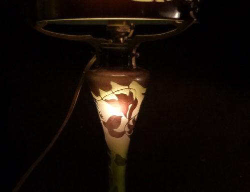 Emile Gallé Lampe De Table Champignon En Pâte De Verre