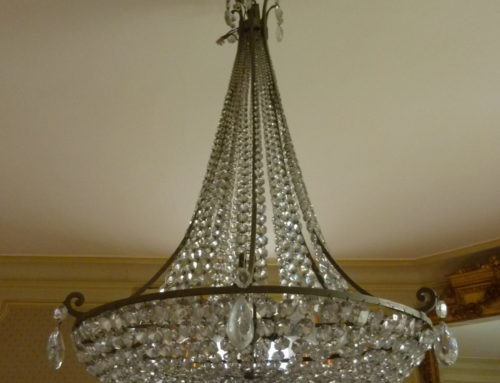 Grand Lustre Corbeille Cristal Et Bronze