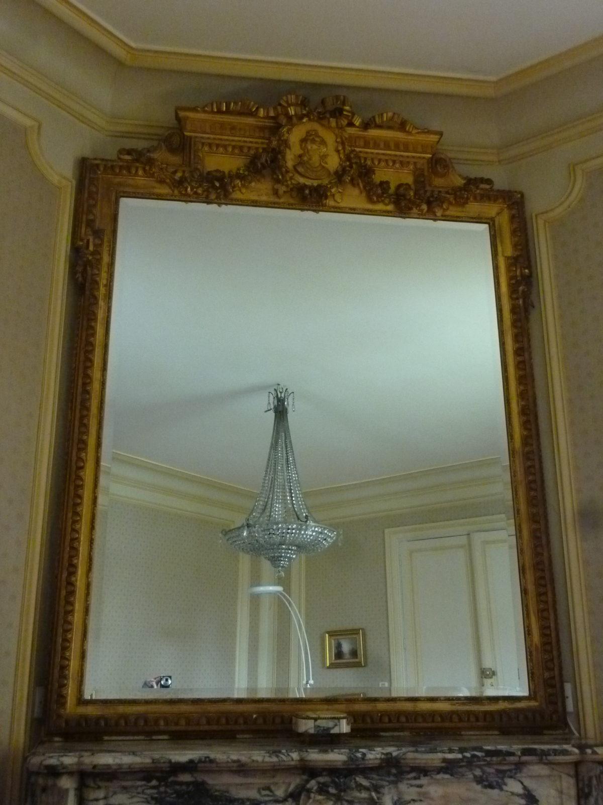 Ultra Grand Miroir Bois Et Stuc Doré à La Feuille Style Louis XVI 19ème WX-16