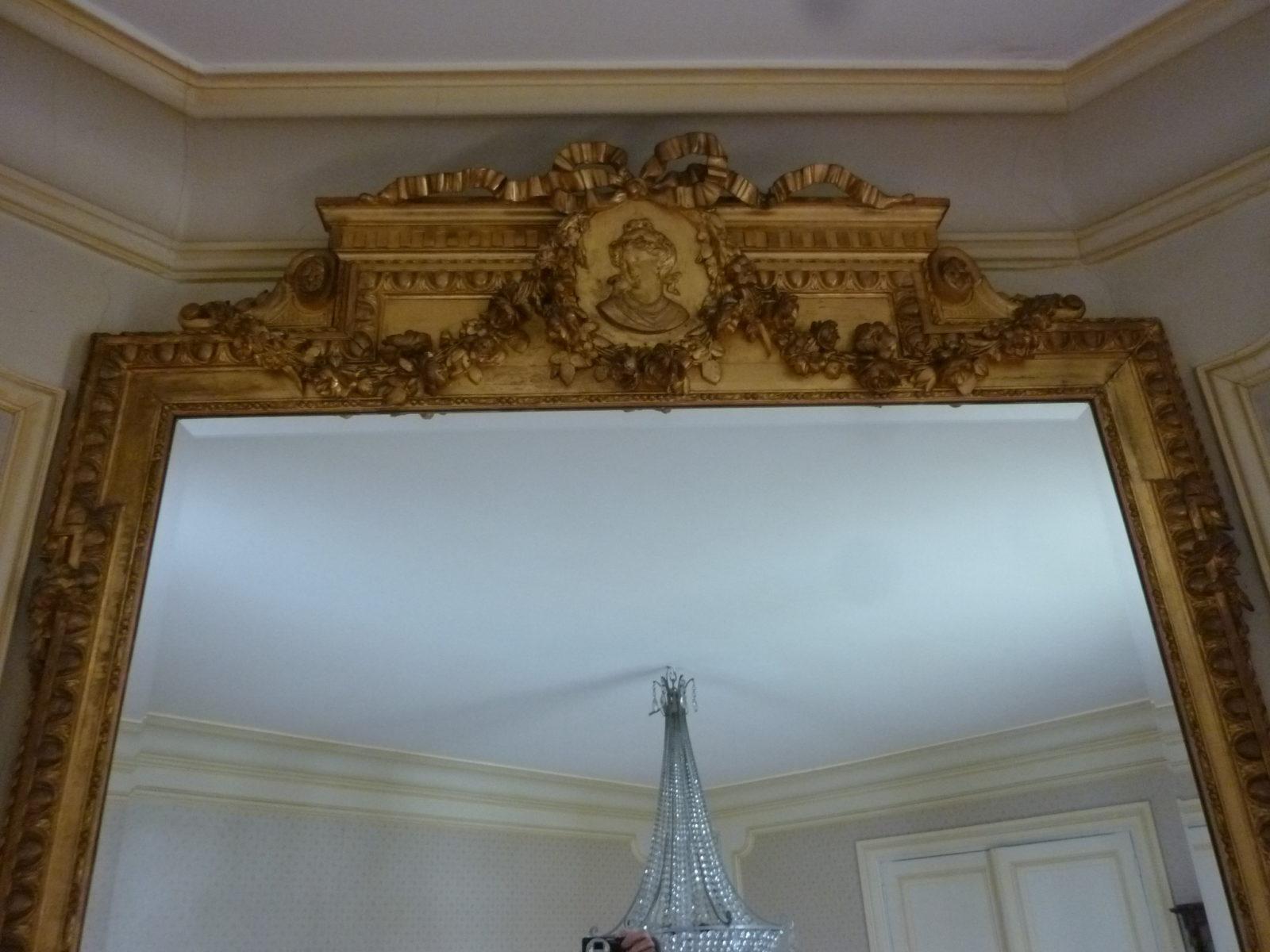 Grand miroir bois et stuc dor la feuille style louis for Miroir 19eme siecle